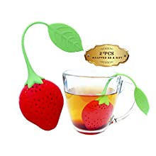 Tea Infuser Set of 2 - Strawberries loose leaf tea Silicone strainer with Long Handle