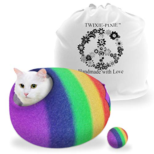 TWIXIE-PIXIE Premium Luxury Felt Cat Cave Bed (Large) -Handmade with Soft 100% Merino Wool - Warm in The Winter and Cool in The Summer - Rainbow Color with Included Felt Ball Cat Toy and Travel Bag ()