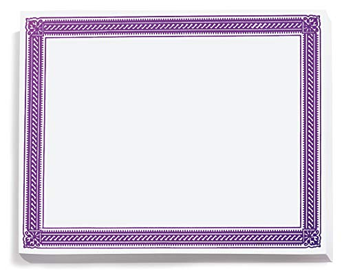 - Purple on White Elite Specialty Certificates, 8½ x11, Foil Accents, 50 Count