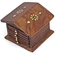 Amaze Shoppee Wood Drink Coasters Hut Shaped, 6 Pieces Coasters Set with Holder 100% Natural and Organic Dining Table Decor Centerpiece for Home Office Table