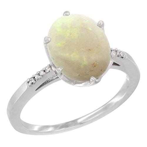 Natural White Opal Ring (10K White Gold Natural Opal Engagement Ring 10x8 mm Oval, size 5)
