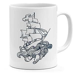 Loud Universe Ceramic Vintage War Ship Pirates Ship Vintage Ship Mug, White