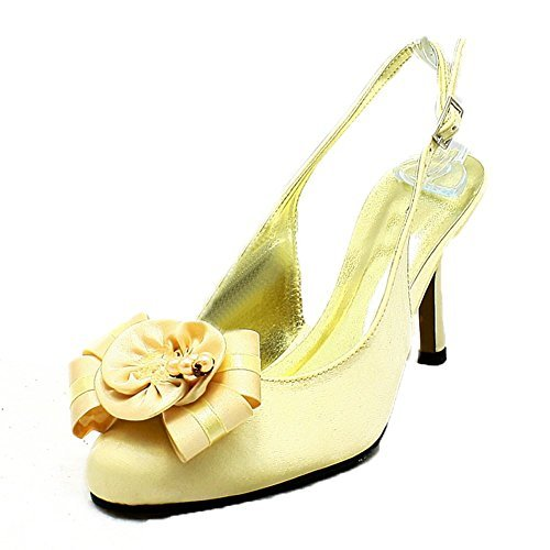 Gold satin high heel sling back rounded toe evening shoes with beaded flower