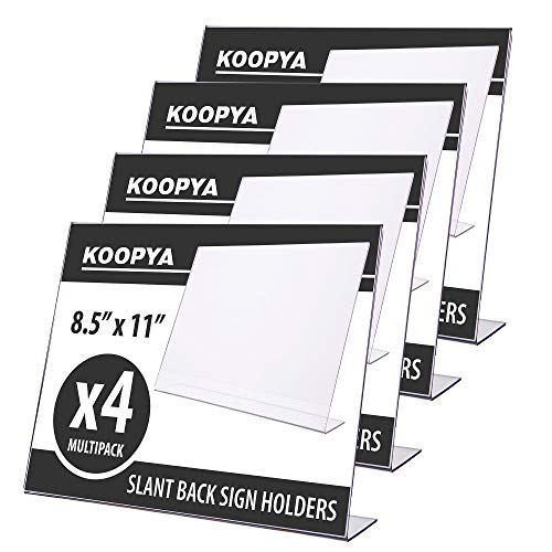Acrylic Slant Back Horizontal Sign Holder 8.5 x 11 - Landscape Display with Thick Durable Quality, Pack of 4