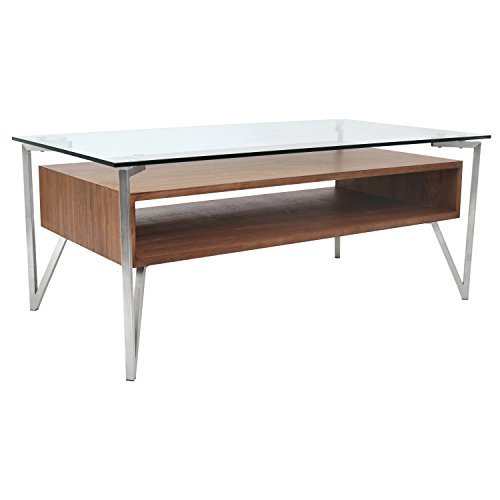 WOYBR TB-HVR-CT WL Wood, Glass, Stainless Steel Hover Coffee Table ()