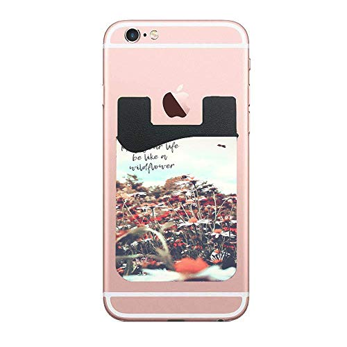 Wildflower Cell Phone Stick on Wallet Card Holder Phone Pocket for All Smartphones 2 Pack