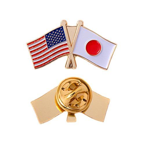 (Japan Country Double Flag Lapel Pin Enamel with United States USA US Souvenir Hat Men Women Patriotic Japanse (Double Flag Pin))