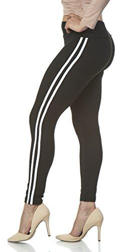 Lush Moda Women's Basic Leggings with Yoga Waist- Extra Soft and Variety of Colors - Black w White Stripe
