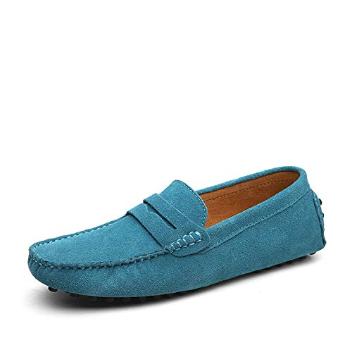 Fashion Summer Style Soft Moccasins Men Loafers Genuine Leather Flats Gommino Driving Shoes,01 Sky Blue,10