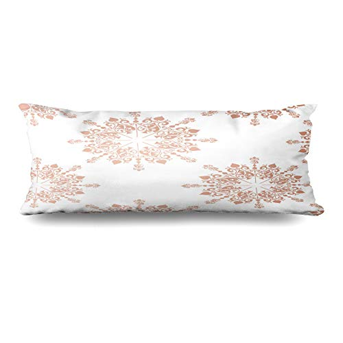 (Ahawoso Body Pillows Cover 20x54 Inches Baby Pink Pattern Rose Gold Large Floral Lace Tone Toile Blush Announcement Birthday Border Design Decorative Zippered Pillow Case Home Decor Pillowcase)