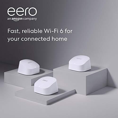 Introducing Amazon eero 6 dual-band mesh Wi-Fi 6 gadget with integrated Zigbee sensible house hub (3-pack, one eero 6 router + two eero 6 extenders)