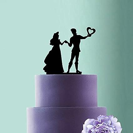 5817cc6e7edca6 Amazon.com: Prince and Princess Silhouette Wedding Cake Topper ...