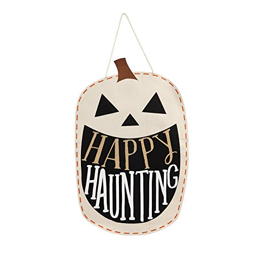 Mud Pie 4065012P Pumpkin Halloween Door Hanger, Off Off White/Black/Gold]()