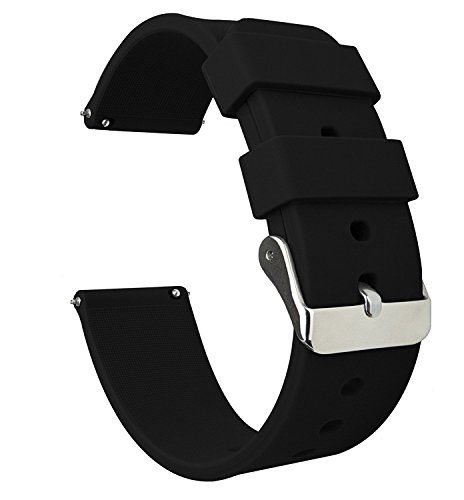SONGDU Quick Release Silicone Watch Band, Soft Rubber Replacement Strap for Smartwatches 18mm, 20mm, 22mm (22mm, Black)