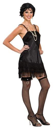On The Fringe Sexy Flapper Costumes (Rubie's Costume Co Women's Deluxe Black Flapper Costume, Black, Medium)