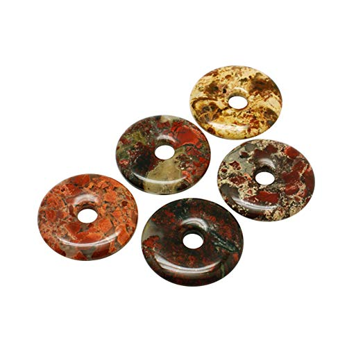 ARRICRAFT 5pcs Natural Stone Pendants Flat Round Gemstone Donut Beads Charms Jewelry Finding for Necklace Earring Mobile Key Chain