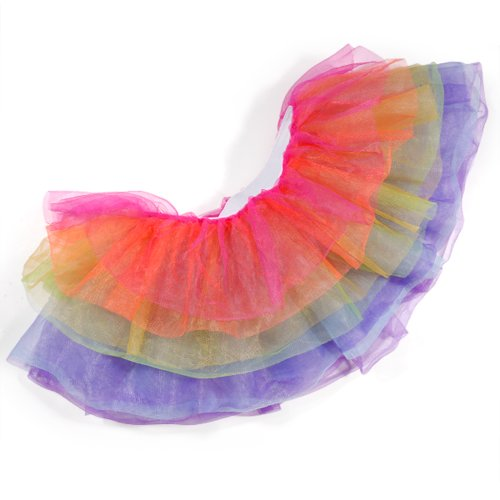5de1f4d36 Rainbow Neon Rara Rave Party Ballet Dance Ruffle Tiered Tutu Skirt Clubwear  (Rainbow 7 Layered)