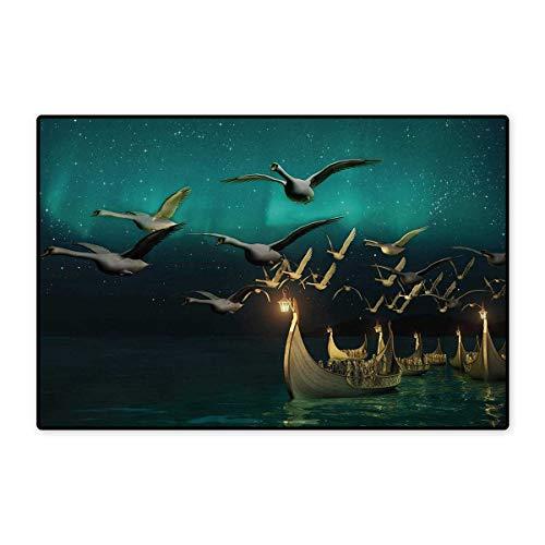 Fantasy,Bath Mat,Medieval Elf Boats and Magical Birds Swans Flying Mystical Adventure Illustration,Door Mats for Inside Bathroom Mat Non Slip Backing,Teal Gold 32