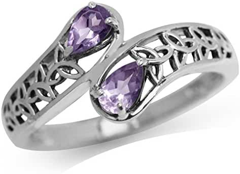 Natural Amethyst Oxidized Finish 925 Sterling Silver Triquetra Celtic Knot Bypass Ring
