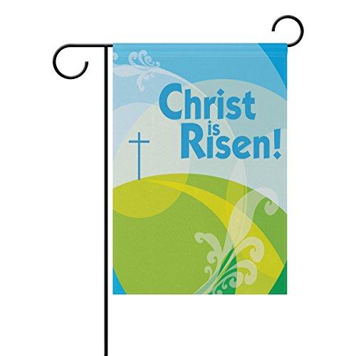 is Risen Easter Day Polyester House Garden Flag Banner 28 x 40 Inch for Anniversary Family Garden Decor (Happy Easter Cross)