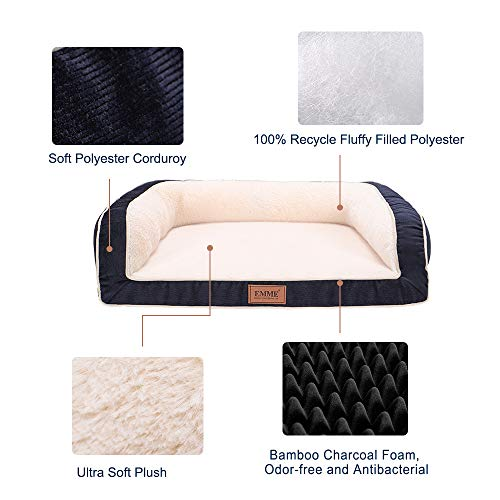 EMME Large Dog Bed Orthopedic Dog Beds with Plush Foam Mattress Joint Relief Washable & Removable Cover Deluxe Dog Couch Sofa Style Pet Bed (Navy, Large)