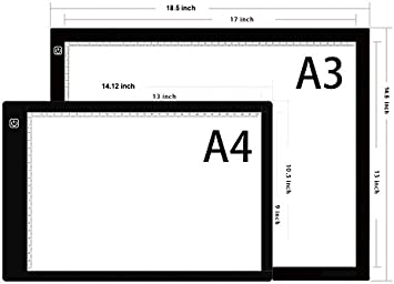 Caja de luz para calcar, WERSHOW mesa de luz/ mesa de dibujo de tamaño A3, LED, Iluminación ajustable, ideal para animacion, tatoo, dibuja: Amazon.es: Electrónica