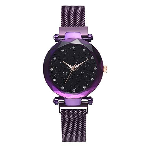 Relojes Mujer, Pulsera de Escala de Diamantes Casual, Reloj analógico, Elegante, Cielo