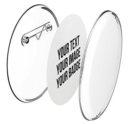 Chapas plasticas con alfiler incluido (a presion) hagalo usted mismo, sin necesidad de maquina (Ø 56 mm, 10 piezas) - Conjunto de chapas con alfiler y papel- pre cortado A4