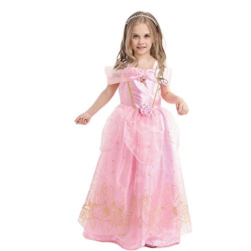 [JiaDuo Girls' Princess Fancy Dress Party Cosplay Costume 5 Pink] (Easy Movie Fancy Dress Costumes)