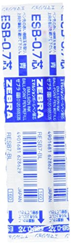 Zebra Emulsion Ball Point Pen Refill for Sharbo and Surari Sharbo Multi Function Pen Blue Ink, 0.7mm Point (RESB7-BL)
