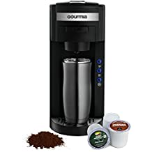 Gourmia GC150 JavaMaster 2-In-1 K-Cup and Ground Coffee Single Serve Coffee Maker with Hydroforce Extraction System and Adjustable Dispenser - 110/120V