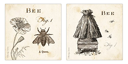 Classic Vintage Ephemera Queen Bee and Bee Hive Print Set; Two 12x12in Paper Poster Prints
