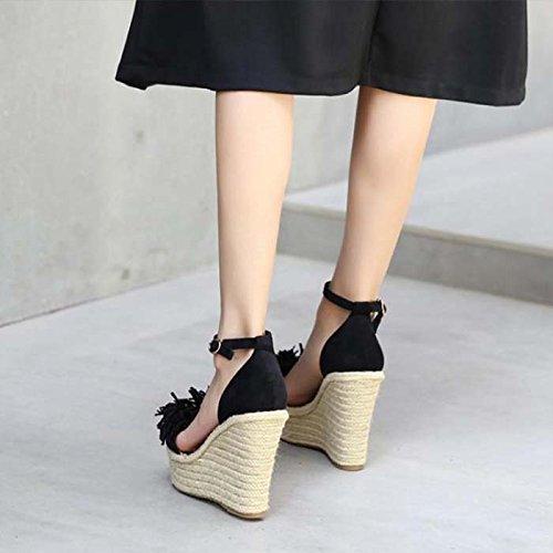 Zapatos Impermeable Plataformas De Sandalias De De Altos black Tacones 12Cm Muffins GTVERNH Zapatos Mujer Fondo Verano Grueso Cuero Pendiente Hebillas Flecos De Ropa nXxOx5FvqU
