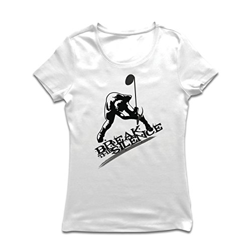lepni.me Camiseta Mujer Romper el Silencio, Nota Musical - Rock and Roll - Heavy Metal - 60's, 70's, 80's, 90's (Large Blanco...