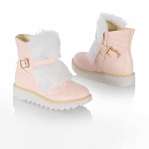 Carolbar Womens Faux Fur Buckle Fashion Sweet Hidden Heel Short Boots Pink S4gTQq1c