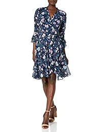 Women's Long Sleeve Floral Smocked Wrap Dress