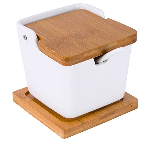 - Vencer Ceramic Square Sugar Bowl with Sugar Spoon and Bamboo Lid with Bamboo Coaster for Home and Kitchen,Modern Design,White