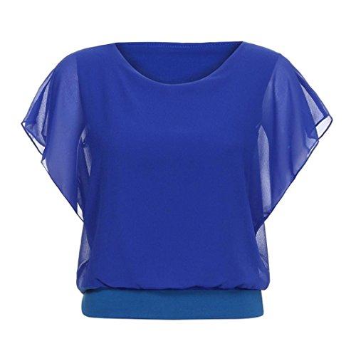 ❤ Blusa de Gasa de Mujer Casual, Camiseta Manga Corta con Manga murciélago Manga Corta Suelta Tallas Grandes Absolute: Amazon.es: Ropa y accesorios