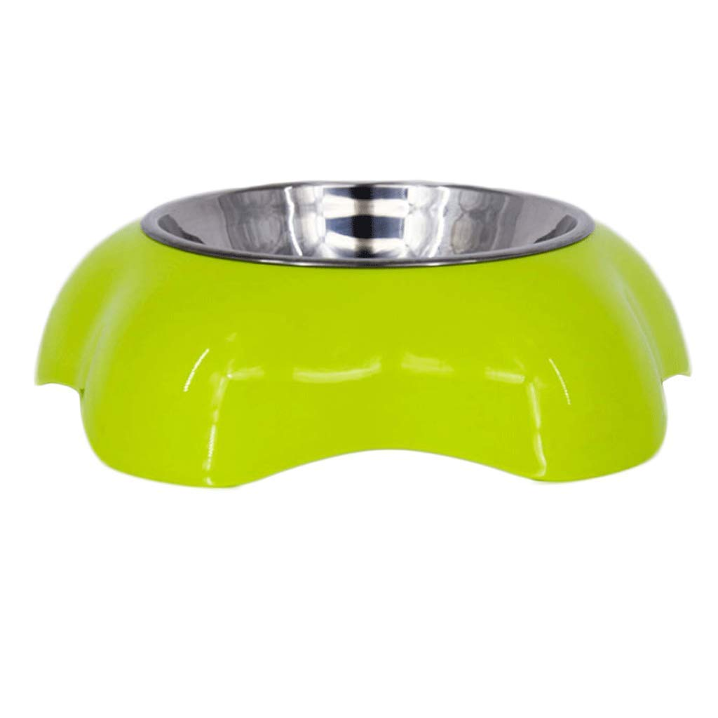 GREEN S GREEN S Flower Shape Plastic Pet Bowl Food Utensils Stainless Steel Two in One Small and Medium Sized Dogs Food Bowl (color   Green, Size   S)