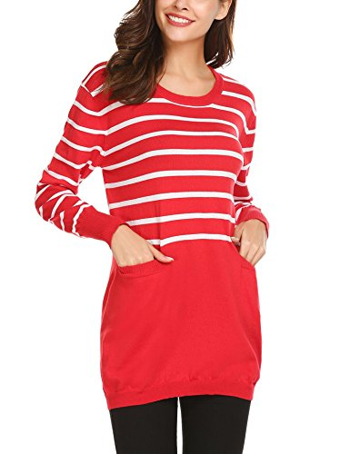 Zeagoo Women's Striped Long Sleeve Crew Neck Knit Sweater Pullover Tunic With Pocket (Sweater Winter Striped)