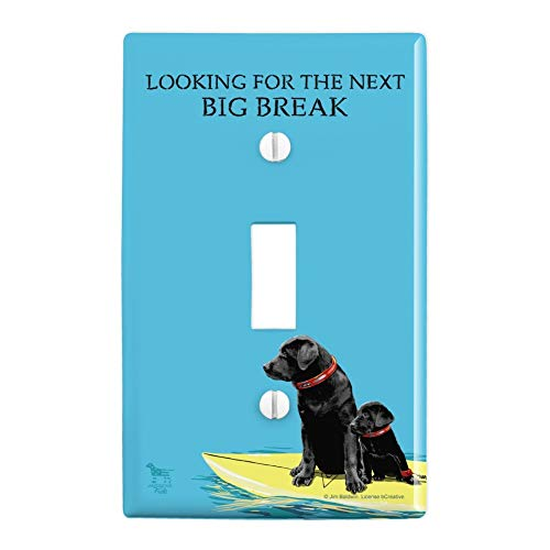 (GRAPHICS & MORE Looking for The Next Big Break Surfing Dog Puppy Surf Plastic Wall Decor Toggle Light Switch Plate Cover)