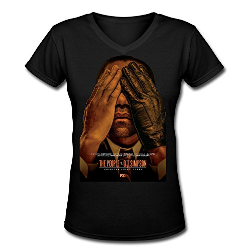 Classic Women's American Crime Story 2016 Movie Short Sleeve Slim Fit V-neck T-Shirt Black US Size L