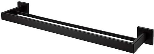WYRX Ventosa Individual Doble Barra de Toallas Toallero de Aluminio Negro Toallero con oxidaci/ón Terminado Accesorios de Almacenamiento de ba/ño