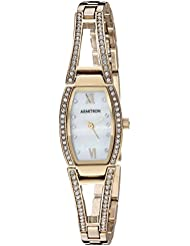 Armitron Womens 75/3530MPGP Swarovski Crystal Accented Gold-Tone Bangle Watch