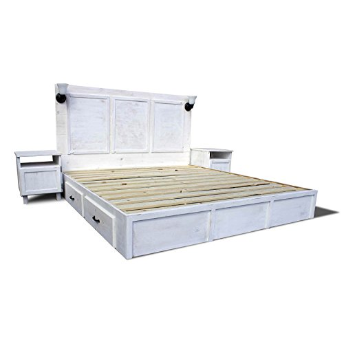 Storage Platform Bed Frame and Headboard Bedroom Set - Shabby Chic and Rustic - White Wash Finish - Bed Frame With Drawers