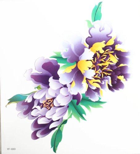 Spestyle latest design look like real large purple peony flower fake tattoo - Looks Latest