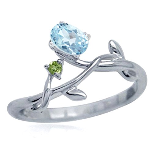 Genuine Blue Topaz & Peridot 925 Sterling Silver Vine Leaf Ring Size 5.5