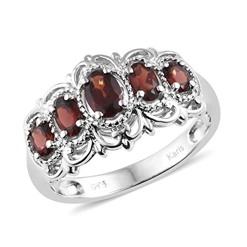 Platinum Oval Garnet 5 Stone Statement Ring for Women and Girls Jewelry Gift Size 8 Cttw 1.2 from Shop LC Delivering Joy