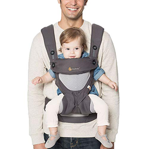 Ergo Sport Baby Carrier - Ergobaby Carrier, 360 All Carry Positions Baby Carrier with Cool Air Mesh, Carbon Grey