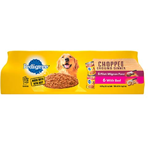 Pedigree Chopped Ground Dinner Filet Mignon Flavor & With Beef Adult Canned Wet Dog Food Variety Pack, (12) 13.2 Oz. Cans